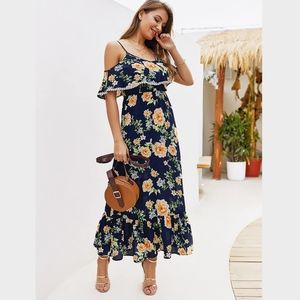 Navy Floral Cold Shoulder Ruffle Maxi Dress PomPom